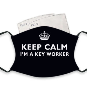 Keep Calm I'm A Key Worker – Adult Face Masks – 2 Filters Included