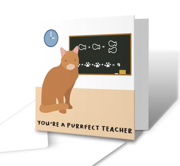 You're A Purrfect Teacher Teacher Greetings Card
