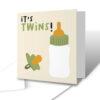 It's Twins Milk Bottle Dummy New Baby Greetings Card