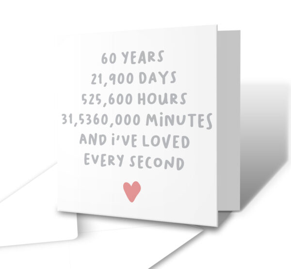 I've Loved Every Second 60 Years Anniversary Greetings Card