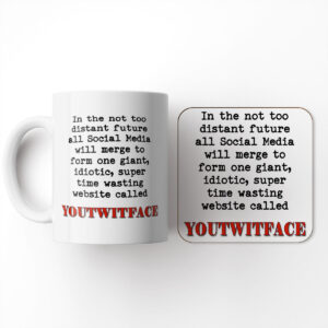 in The Not Too Distant Future Social Media Will Merge to Form and Coaster – Mug and Coaster Set