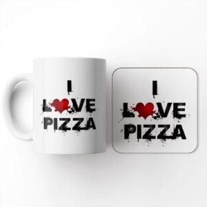 I Love Food – Pizza – Mug and Coaster Set