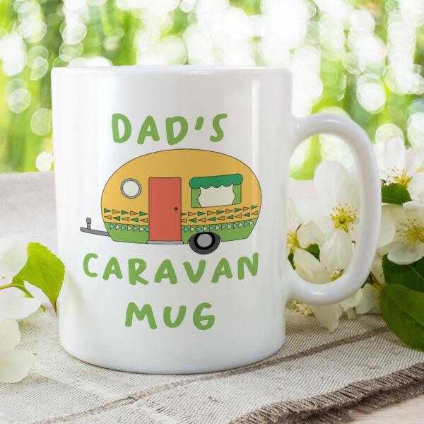 Dad's Caravan Mug - Green Camper Birthday Gift Mug