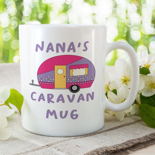 Nana's Caravan Mug - Purple Camper Birthday Gift Mug