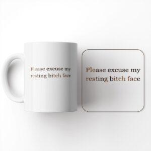 Elegant Typography Design Funny – Resting Bitch face – Mug & Coaster