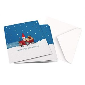 Christmas Card Pack of 10×1 Design DRIVING GNOME FOR CHRISTMAS ILLUSTRATION – Square Greeting Card X10