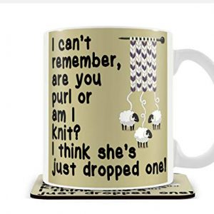 'I Think She's Dropped one' Knitting Design – Mug & Coaster