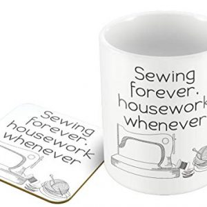 Sewing Forever, Housework Whenever – for The Needlework Fan – Mug & Coaster